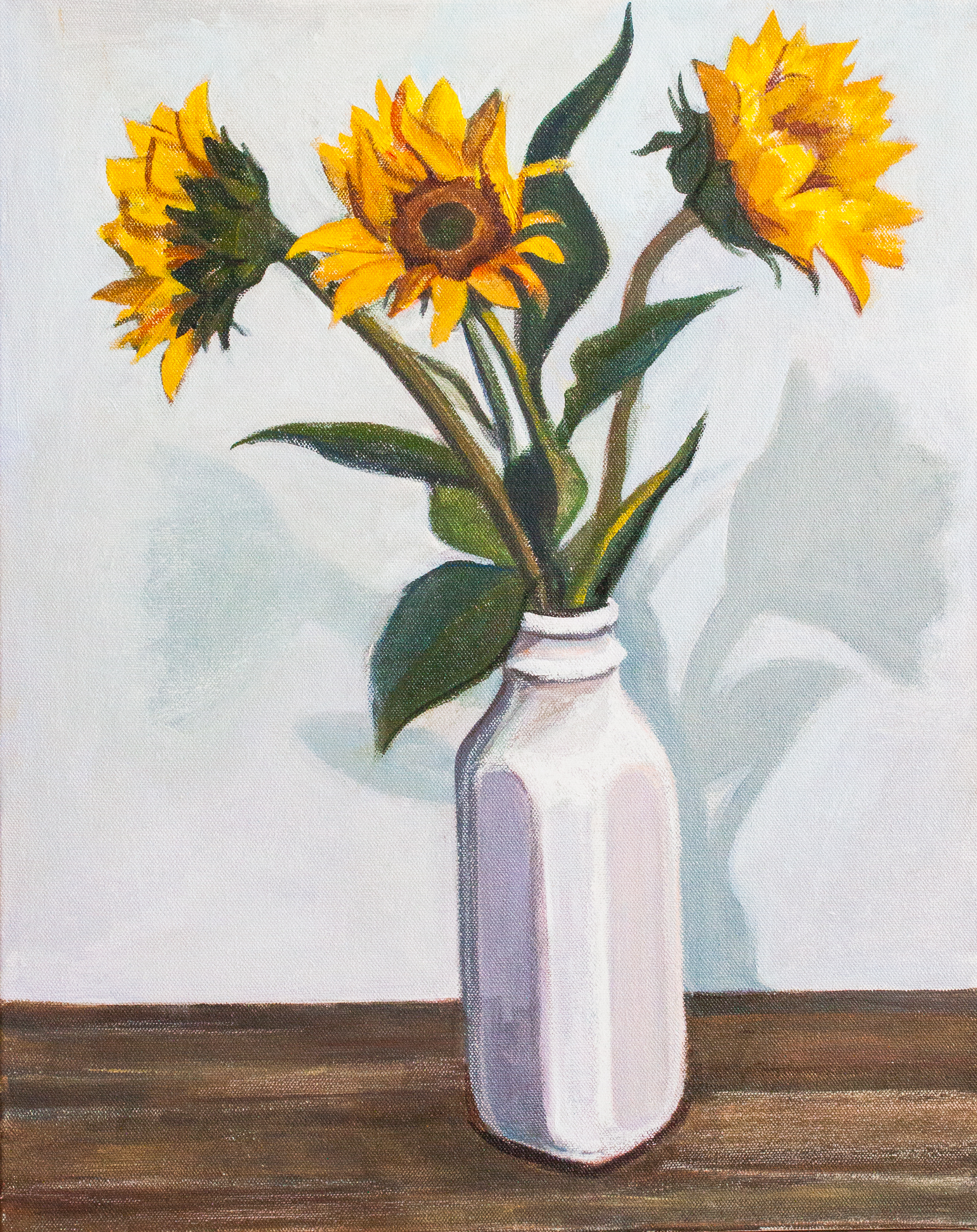 Three Sunflowers. Acrylic on Canvas. Allyson Kramer, 2015